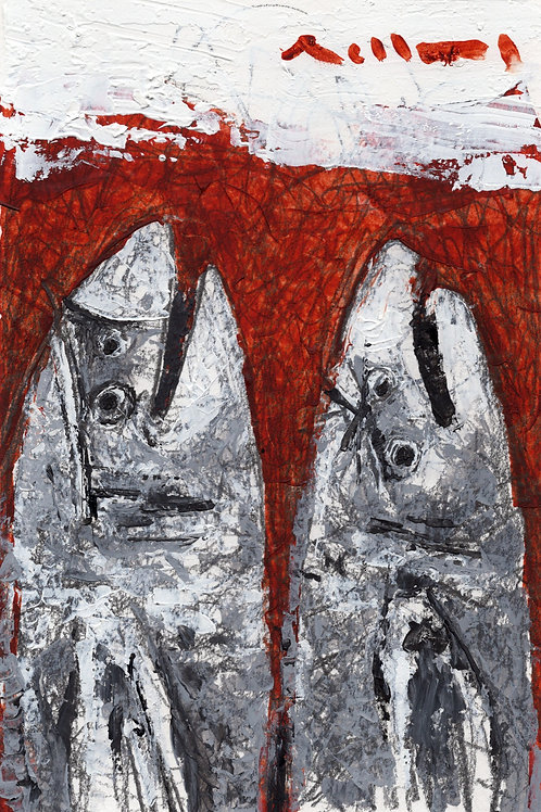 "BEASTS: ""Communities No.002"" ~ Original Oil Painting on Paper"