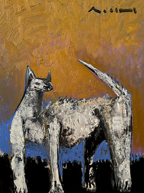 """BEASTS: """"Attention"""" ~ Original Oil Painting on Paper"""