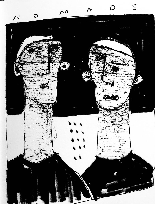 NOMADS ~  Sketchbook Ink Sketch Note ~ Mark M. Mellon, Artist