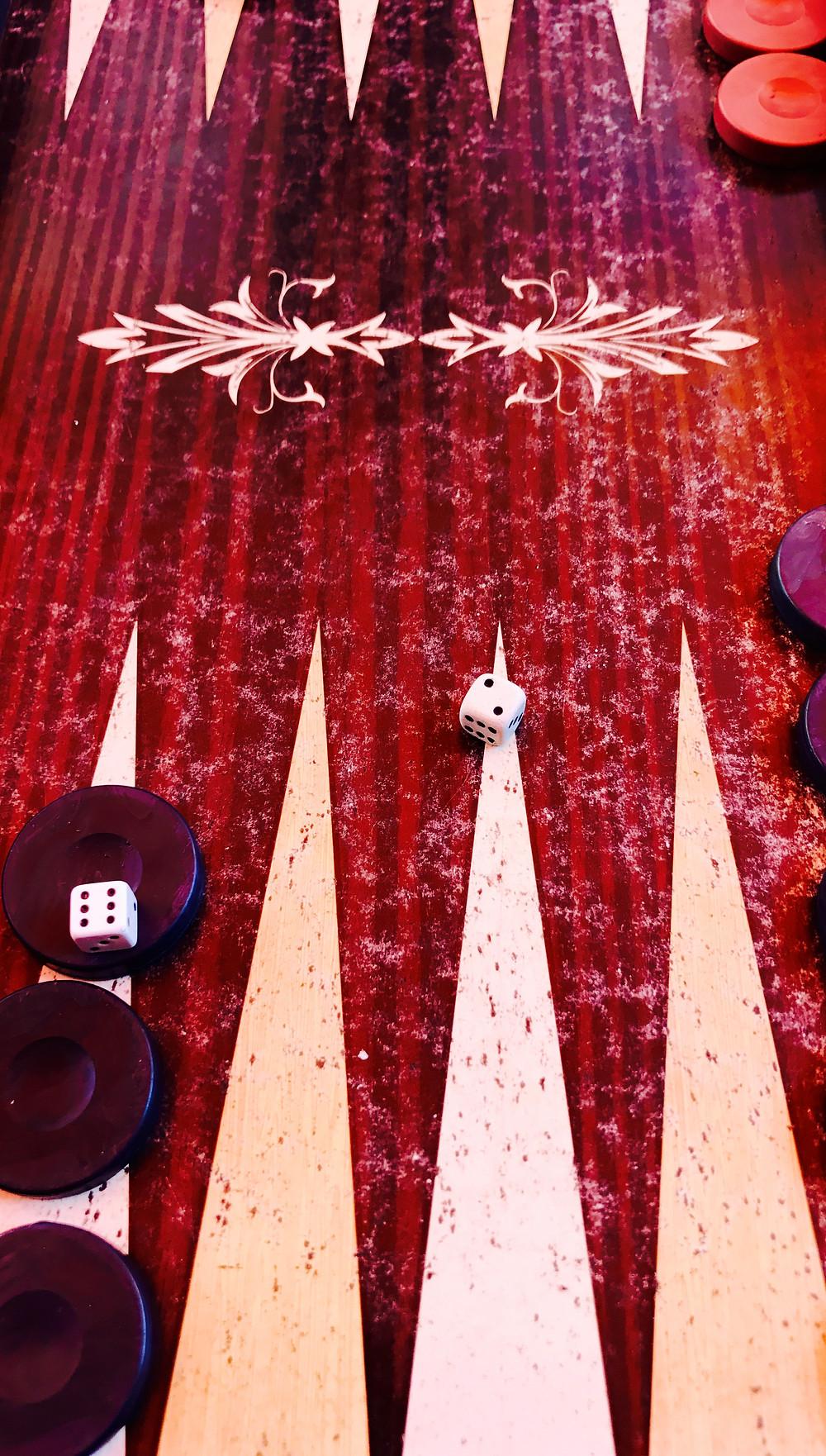 Tavla Game Board at Dede Tea House  in Çanakkale