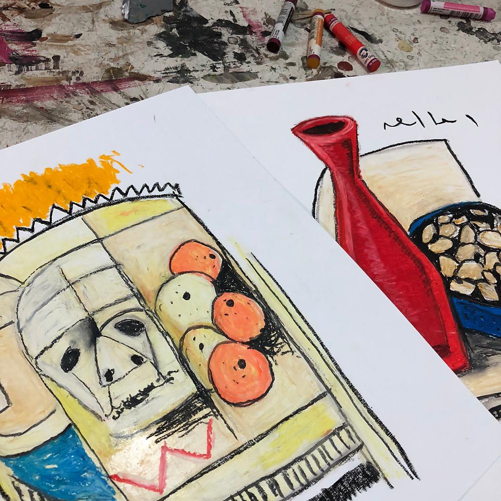 Oil Pastel Still Life Drawings for new work in development | Mark M. Mellon