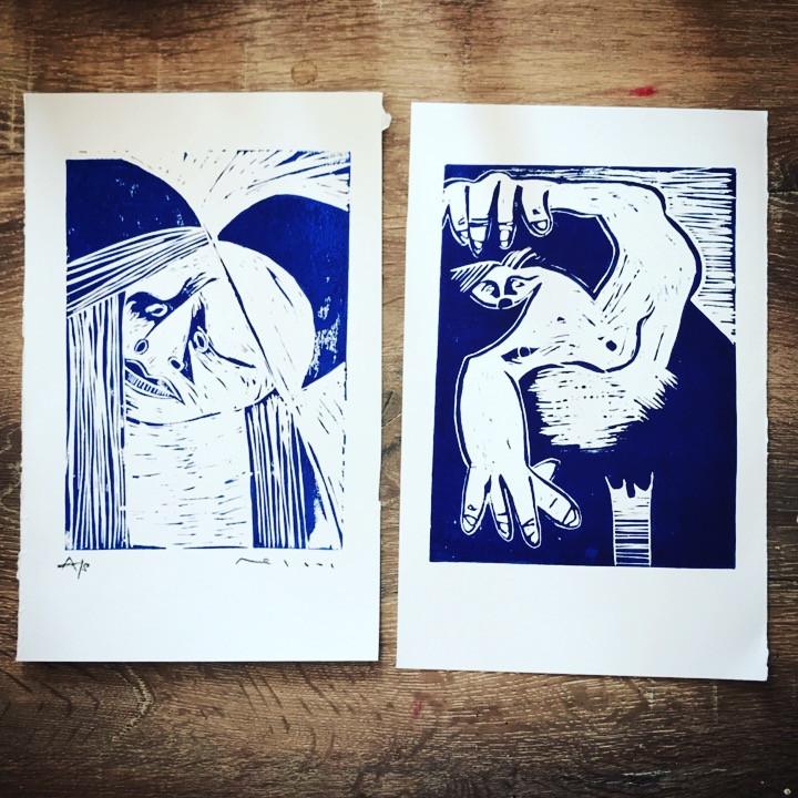 Lino Cut Edition Prints By Mark M. Mellon