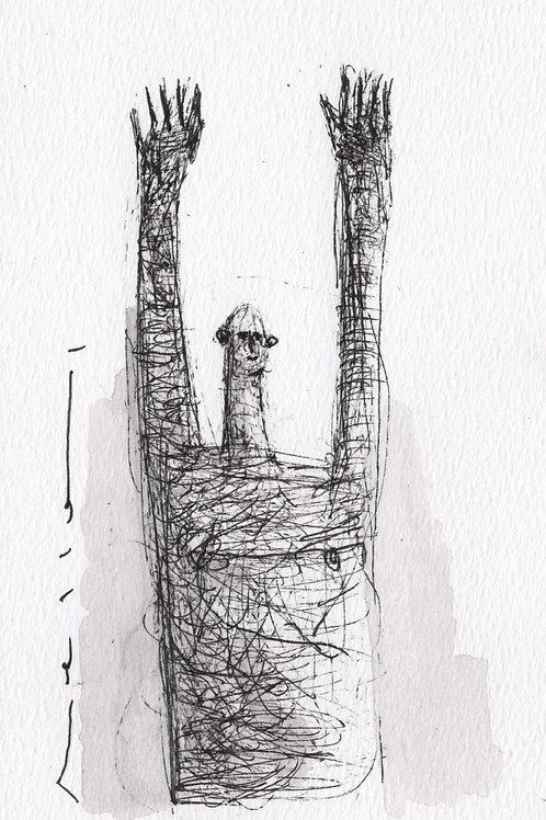 """MODERN EXPRESSIONS: """"Surrender No.2"""" ~ Original Ink on Paper"""