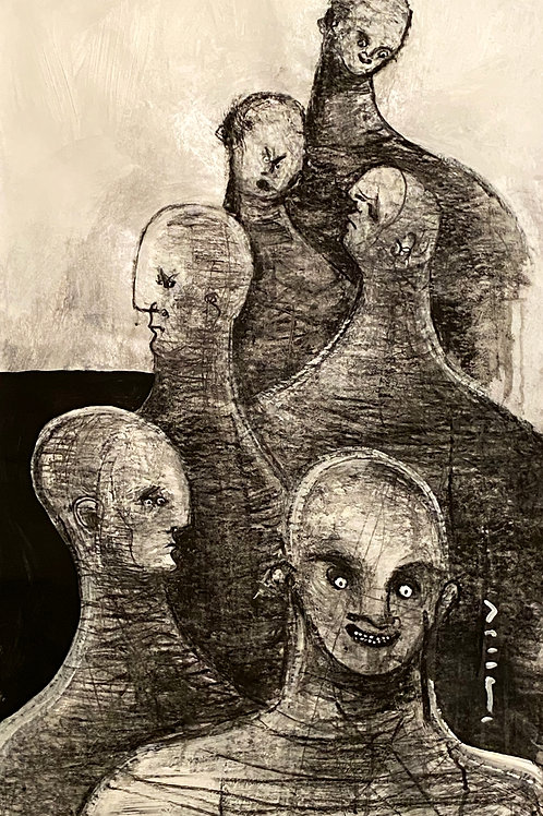 """GIGANTES: """"No.21""""  ~ Original Acrylic and Charcoal on Paper"""