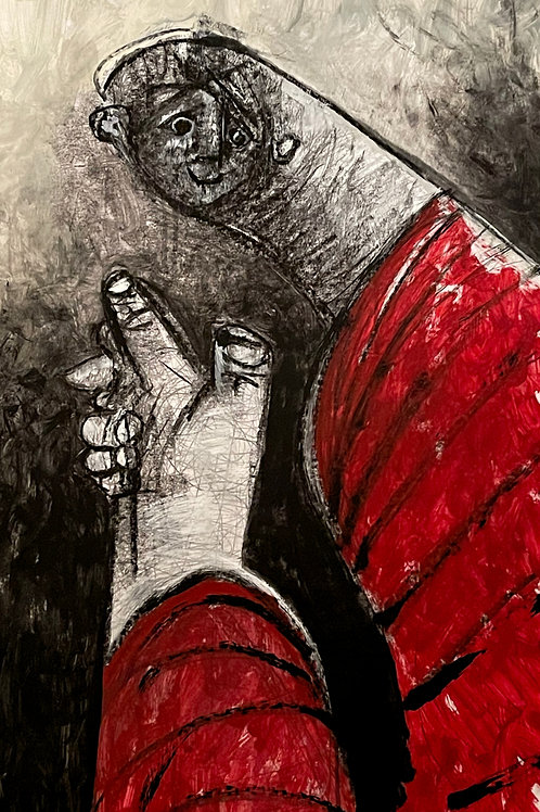 """MODERN EXPRESSIONS: """"The Unknown No.001"""" ~ Original Acrylic on Paper"""