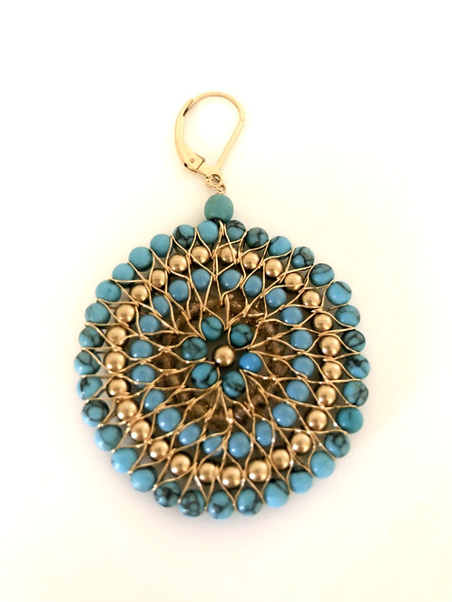 Gold Filled Circle Earrings with Turquoise
