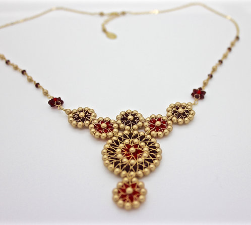 7 Circle Red Necklace