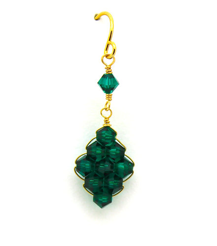 Simple Diamond Shape Emerald Earring