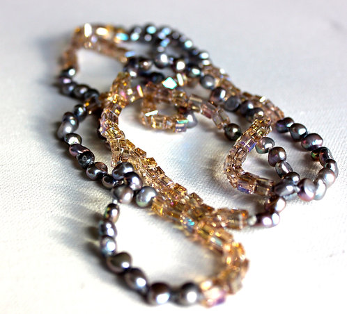 Fresh Water Pearl and Crystal Necklace