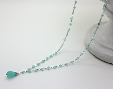 Chalcedony Hand Wrapped Necklace