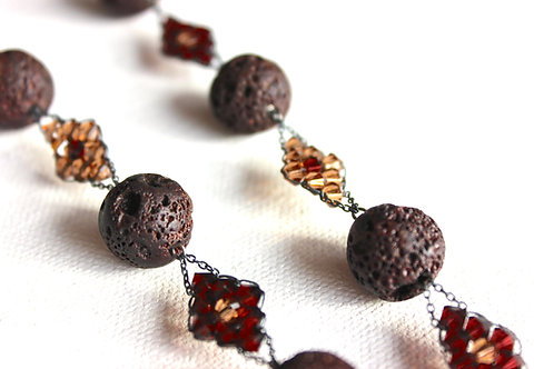 Volcanic Rock Brown Necklace