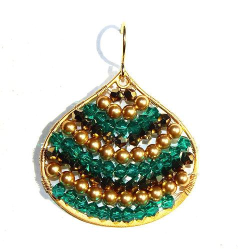 Tear Drop Gold Fill Earring in Emerald