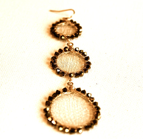 Crystal and Mesh 3 Circle Earring