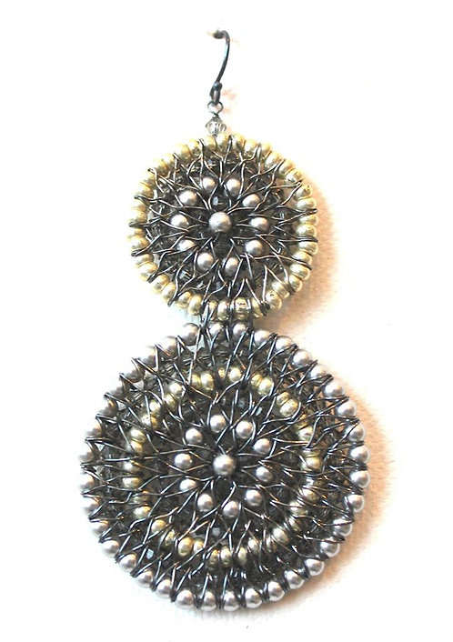 Large Silver 2 Circle Beaded Earring