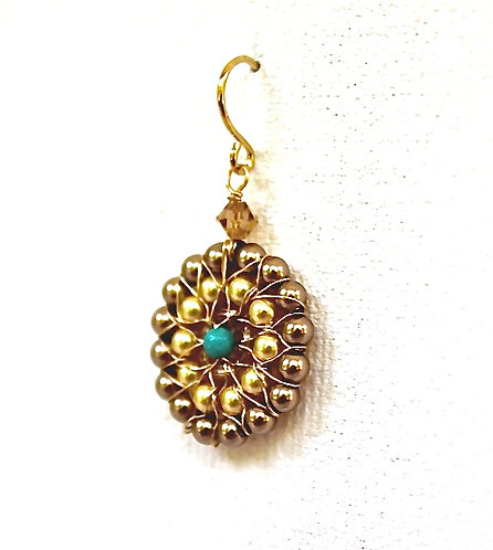 Circle Pearl and Turquoise Earring