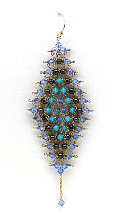 Diamond Shape Light Sapphire Earrings.