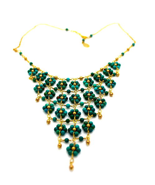 Turquoise Stone Flower Triangle Necklace