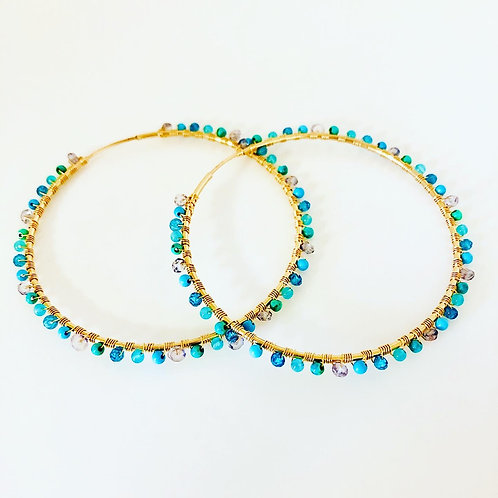Gold Filled Gemstone Hoop Earrings