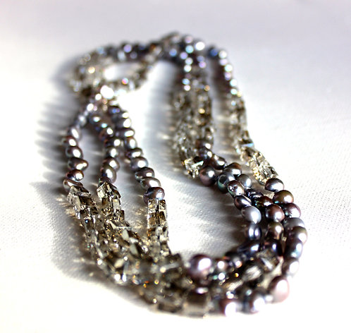 Grey Pearl and Black Diamond Crystal Necklace