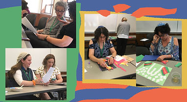 Jo Milgrom inspired handmade midrash torn paper workshop with Nancy Katz, NewCAJE arts session