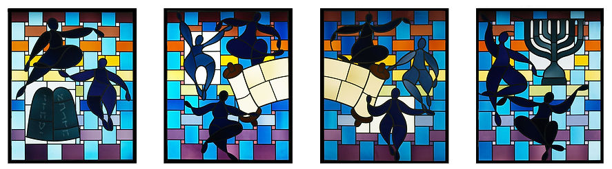 Nancy Katz/Wilmark Jewish stained glass Torah Jewish people, 10 commandments, menorah