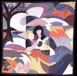 colorful pieced art quilt by Nancy Katz