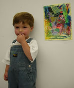 young child with artwork inspired by Chagall SFMOMA