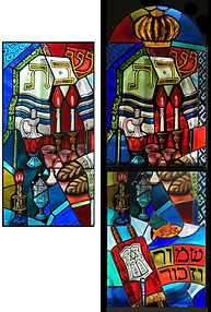 re-worked & re-configured Shabbat stained glass