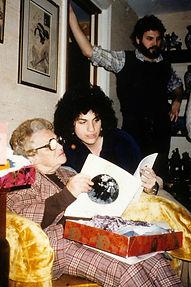 Nancy Katz artist with grandmother with book, brother Steven Katz standing