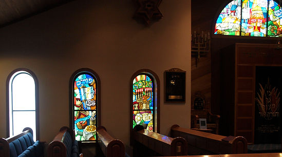 Stained Glass in Synagogue, Jewish Theme