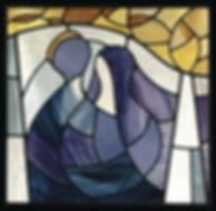 Nancy Katz/Wilmark Studio Logo, stained glass wedding couple