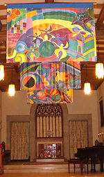 Painted silk banners Mt Holyoke college interfaith chapel