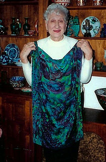 Florence Katz, mother of Nancy Katz, 70 years old, birthday scarf, Nancy's first silk painting