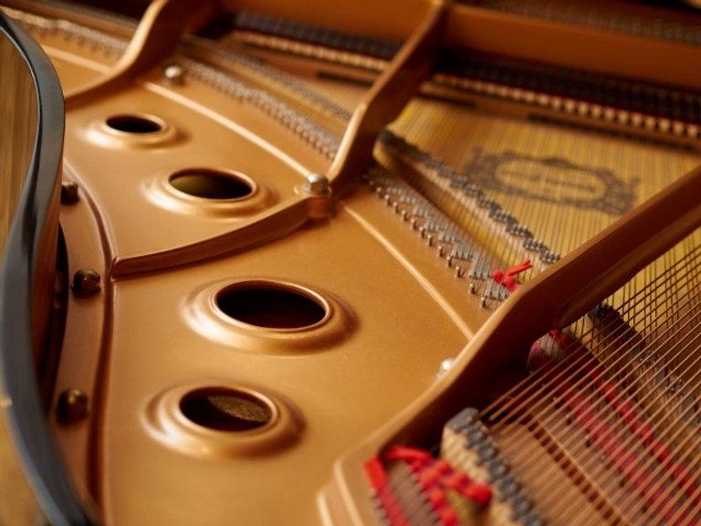 グランドピアノの響板と弦
