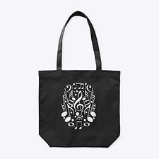 Note Collage black tote bag by Five Minute Mozart.