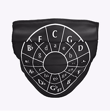Circle Of Fifths face mask covering by Five Minute Mozart.