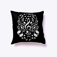 Note Collage throw pillow by Five Minute Mozart.