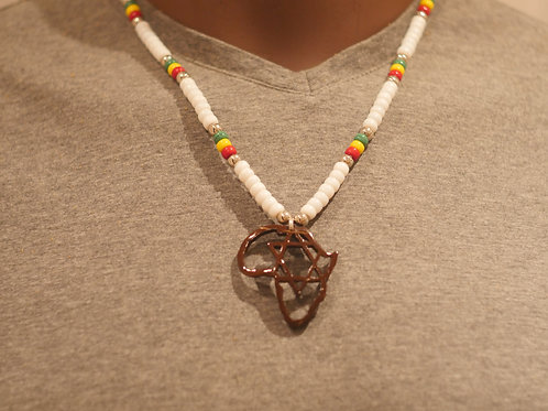 Bead chain + Africa with Star of David handmade pendant