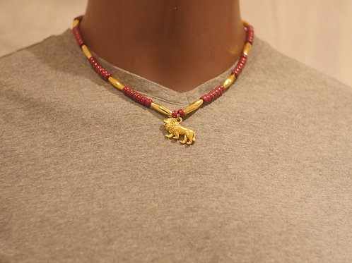 Bead chain + Lion pendant