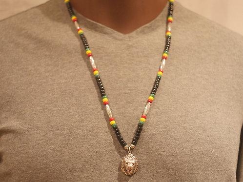 Bead chain + Lion face pendant