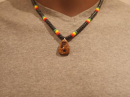 Bead chain + Haile Selassie handmade pendant