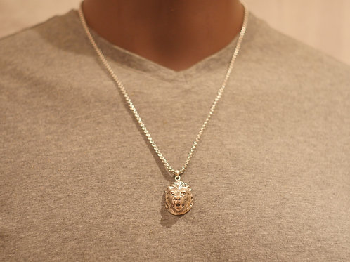 Chain + Lion face pendant