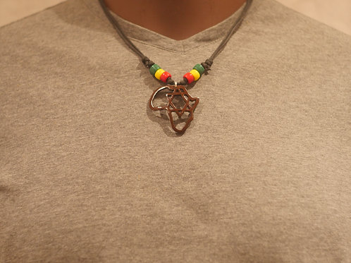 Necklace + Africa with Star of David handmade pendant