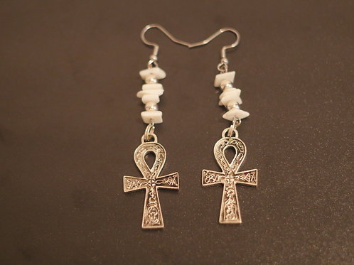 Earrings + Ankh pendants