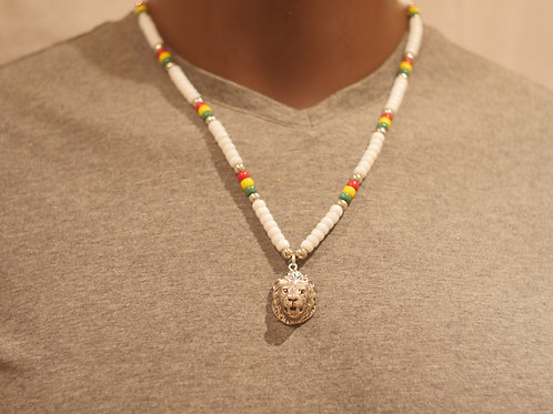 Bead chain + Lion face pendant