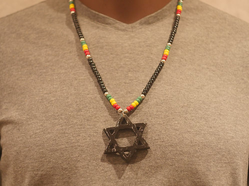 Bead chain + Star of David handmade pendant