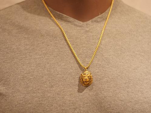 Chain + Lion face pendant