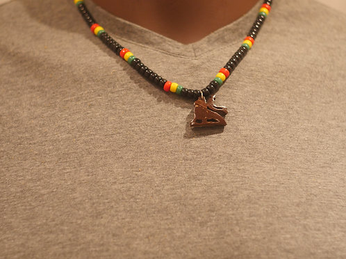 Bead chain + Conquering Lion handmade pendant