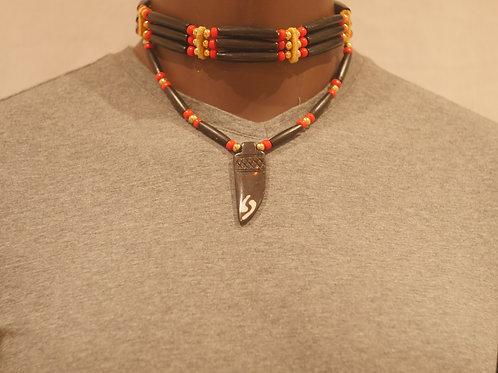 3 row choker + pendant