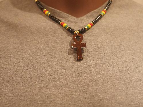 Bead chain + Ankh handmade pendant